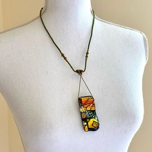 Iridescent Glass Pendant Necklace